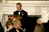 Washington, D.C. - November 2, 2005 -- Charles, Prince of Wales, of Great Britain makes a toast at the start of a Social Dinner in the State Dining Room of the White House in Washington, D.C. on November 2, 2005. The rare black tie dinner was held by President George W. Bush to honor Prince Charles and his wife, Camilla, Duchess of Cornwall, who are on an eight-day visit to the United States. .Credit: Jay L. Clendenin - Pool via CNP.(Restriction: No New York Metro or other Newspapers within a 75 mile radius of New York City)