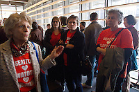 Alyne Fortgang, co-founder of friends of Woodland Park Zoo, implores people to respect each others views prior to the Seattle City Council meeting on March 9, 2015.  Just prior she held a press conference press conference announcing they will try and stopWoodland Park Zoo elephants, Chai and Bamboo, from being sent to a sanctuary because both elephants have been exposed to the fatal herpes virus.  (photo © Karen Ducey Photography)