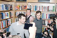 Democratic presidential candidate Pete Buttigieg speaks to the press after a campaign event at Gibson's Bookstore in Concord, New Hampshire, USA, on Sat., Apr. 6, 2019. Buttigieg is the mayor of South Bend, Indiana, and was widely considered a long-shot candidate until his appearance in a CNN town hall in March 2019 which catapulted his campaign to prominence and substantial donations.