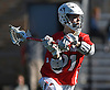 Connor Grippe #21 of Stony Brook makes a pass during an NCAA Division I men's lacrosse game against host St. John's University on Sunday, Feb. 19, 2017. He tallied two goals and an assist as Stony Brook rallied from an early 4-0 deficit to win 14-5.