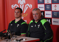 Tuesday 11 November 2014<br /> Pictured: Gethin Jenkins, Warren Gatland<br /> Re: Wales rugby union player Gethin Jenkins (L) and head coach Warren Gatland (R) talk to the media at the Vale Resort Hotel in Hensol, Mid Glamorgan, Wales, United Kingdom on November 11, 2014, ahead of a rugby match against the Fiji national rugby team on November 15 at the Millennium Stadium.