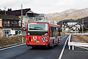A bus operates on the new East Japan Railways (JR East)  Bus Rapid Transit (BRT) Line in Kesennuma city on February 8, 2016, Miyagi Prefecture, Japan. Much of the old Kesennuma coastal train line was destroyed by the 2011 Tohoku earthquake and tsunami. Due to prohibitive restoration costs part of the line was converted into a dedicated Bus Rapid Transit (BRT) route which now connects Kesennuma to Yanaizu. (Photo by Rodrigo Reyes Marin/AFLO)