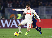 12th January 2020; Stadio Olympico, Rome, Italy; Italian Serie A Football, Roma versus Juventus; Aaron Ramsey of Juventus  controls the ball