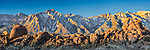 An image of Mount Whitney and Lone Pine Peak from the Alabama Hills in California.