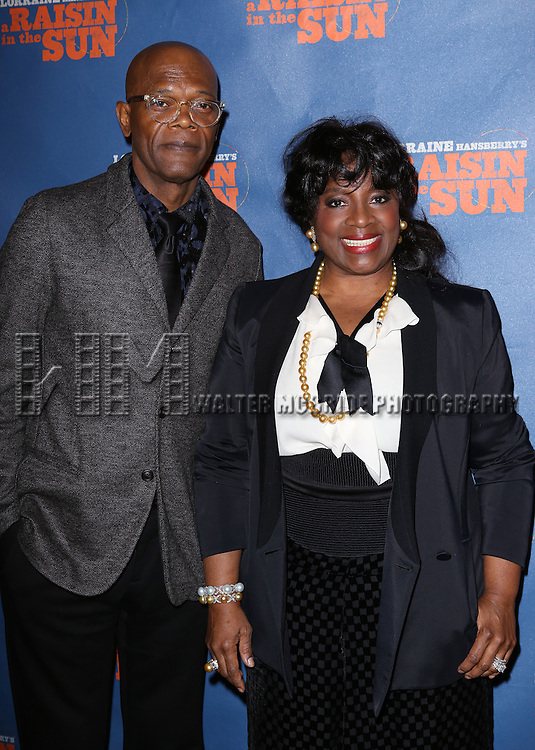 "Samuel L. Jackson and LaTanya Richardson attends the Broadway Opening Night After Party for  ""A Raisin In The Sun"" at Tribeca Rooftop on April 3, 2014 in New York City."