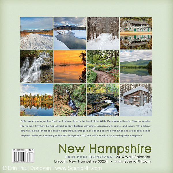 Back cover of the 2016 White New Hampshire wall calendar by ScenicNH Photography LLC | Erin Paul Donovan. The calendar can be purchased here: http://bit.ly/1AJwgpB