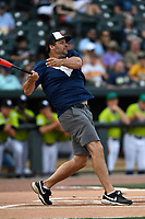 Former Atlanta Brave Ryan Klesko bats during the  Celebrities vs. Soldiers Softball Game as part of the All-Star Game festivities on Monday, June 19, 2017, at Spirit Communications Park in Columbia, South Carolina. (Tom Priddy/Four Seam Images)