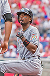 30 August 2015: Miami Marlins infielder Dee Gordon warms up on deck prior to facing the Washington Nationals at Nationals Park in Washington, DC. The Nationals defeated the Marlins 7-4 in the third game of their 3-game weekend series. Mandatory Credit: Ed Wolfstein Photo *** RAW (NEF) Image File Available ***
