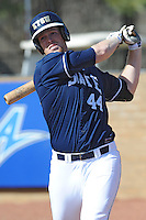 All American Paul Hoilman #44 of East Tennessee State University practices his swing at Greenwood Field against the the University of North Carolina Asheville on March 2, 2011 in Asheville, North Carolina.  East Tennessee State University won 13-5.  Photo by Tony Farlow / Four Seam Images..