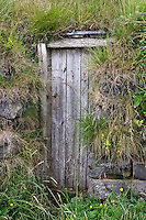 Door surrounded by grass, Iceland