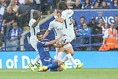 9th September 2017, King Power Stadium, Leicester, England; EPL Premier League Football, Leicester City versus Chelsea; Riyad Mahrez of Leicester City goes into a tackle with three Chelsea players