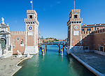View of entrance to Arsenale in Venice, Italy. The Venetian Arsenal was a complex of state-owned shipyards and armories. It was responsible for the bulk of Venice's naval power during the middle part of the second millennium AD.