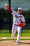 21 February 2019: Washington Nationals pitcher Henderson Alvarez works on the mound during a Spring Training workout at the Ballpark of the Palm Beaches in West Palm Beach, Florida. Mandatory Credit: Ed Wolfstein Photo *** RAW (NEF) Image File Available ***