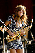 The Zutons - Abi Harding on tenor saxophone and vocals performing live at Hyde Park Calling in Hyde Park London UK - 02 Jul 2006.  Photo credit: George Chin/IconicPix