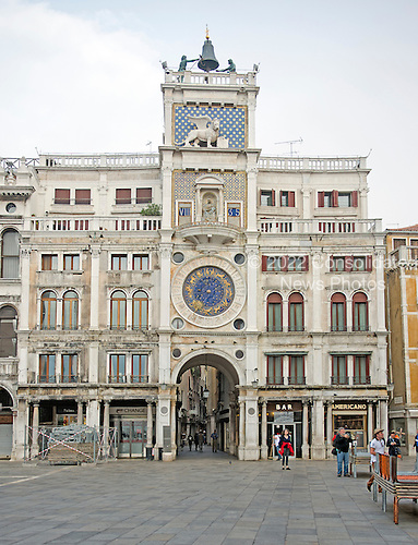 The Clock Tower, is an early renaissance building on the north side of the Piazza San Marco in Venice, Italy at the entrance to the Merceria, the chain of shopping areas that extends from the Piazza San Marco to the Rialto Bridge on Monday, October 28, 2013.<br /> Credit: Ron Sachs / CNP