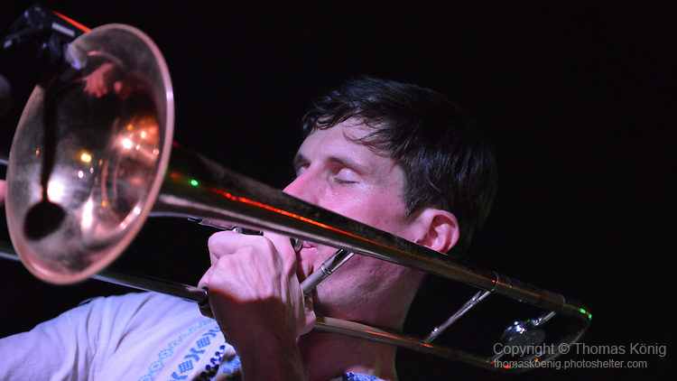 Kaohsiung, Taiwan -- Andy Francis of LA CUMBIA DEL SOL on trombone.