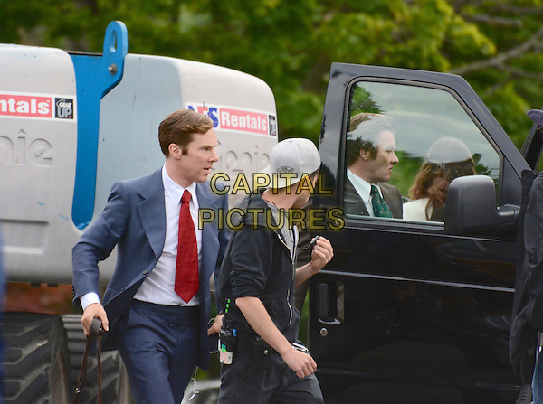 July 15, 2014, Lynn, MA.: Benedict Cumberbatch &amp; Joel Edgerton filming on the set of 'Black Mass' in Lynn, Massachusetts, USA.<br /> CAP/MPI/RTNROSE<br /> &copy;RTNRose/MediaPunch/Capital Pictures