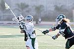 La Canada Flintridge, CA 03/16/13 - Stephen Wilm (De La Salle #25), Jake Shepherd (Coronado #30) and Kevin Fahey (Coronado #28) in action during the De La Salle vs Coronado lacrosse game at St Francis High School.  De La Salle defeated Coronado 8-5.