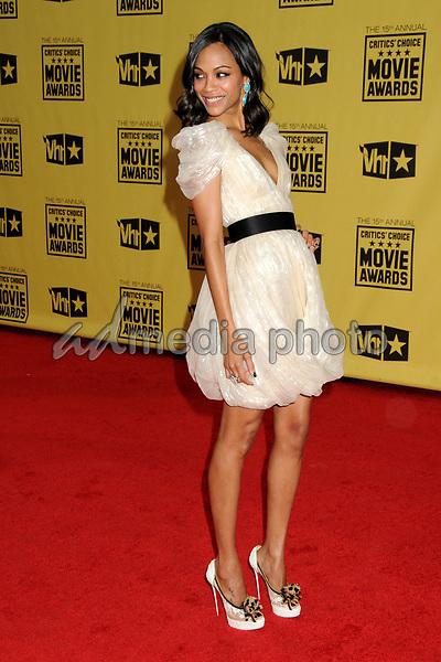 15 January 2010 - Hollywood, California - Zoe Saldana. 15th Annual Critics' Choice Movie Awards - Arrivals held at the Hollywood Palladium. Photo Credit: Byron Purvis/AdMedia