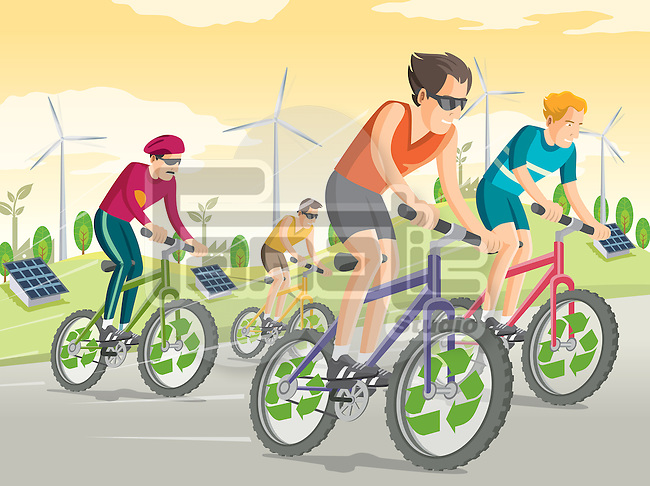 Illustrative image of people riding bikes on street with wind turbines and solar panels in the background representing go green concept