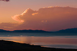 Pyramid Lake sunset and thunderstorm clouds