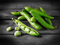 Fresh green Broad beans in their pods