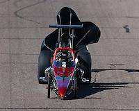Feb 27, 2016; Chandler, AZ, USA; NHRA top dragster driver Moe Trujillo during qualifying for the Carquest Nationals at Wild Horse Pass Motorsports Park. Mandatory Credit: Mark J. Rebilas-