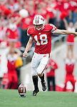 Wisconsin Badgers kicker Philip Welch (18) kicks off during an NCAA college football game against the San Jose State Spartans on September 11, 2010 at Camp Randall Stadium in Madison, Wisconsin. The Badgers beat San Jose State 27-14. (Photo by David Stluka)