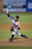 Kannapolis Intimidators relief pitcher Ben Wright (16) in action against the Asheville Tourists at Kannapolis Intimidators Stadium on May 5, 2017 in Kannapolis, North Carolina.  The Tourists defeated the Intimidators 5-1.  (Brian Westerholt/Four Seam Images)