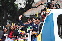 BOGOTA -COLOMBIA- 13-08-2013. Llegada y recibimiento a Nairo Quintana en la capital de la republica  /  Arrival and welcome to Nairo Quintana in the capital of the republic <br />  . Photo: VizzorImage /Felipe Caicedo  / STAFF
