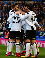 Johnny Russle of Derby celebrates with his team mates after he scores to make it 1-0 during the Sky Bet Championship match between Birmingham City and Derby County at St Andrews, Birmingham, England on 13 January 2018. Photo by Bradley Collyer / PRiME Media Images.