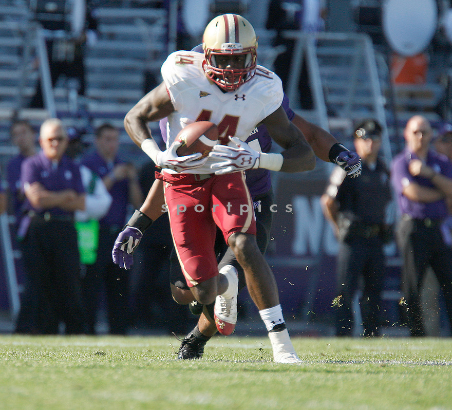 Boston College Eagles Johnathan Coleman (14) during a game against the Northwestern Wildcats on September 15, 2012 at Ryan Field in Evanston, IL. Northwestern beat Boston College 22-13