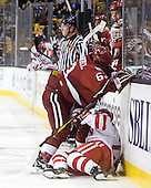 Colin Blackwell (Harvard - 63), Cason Hohmann (BU - 23) - The Boston University Terriers defeated the Harvard University Crimson 3-1 in the opening round of the 2012 Beanpot on Monday, February 6, 2012, at TD Garden in Boston, Massachusetts.