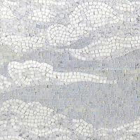 Cloud, a hand-cut stone mosaic, shown in  tumbled Carrara, Thassos, Lettuce Ming, Celeste and Ming Green.
