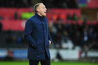 Steve Cooper Head Coach of Swansea City shouts instructions to his team from the dug-out during the Sky Bet Championship match between Swansea City and Derby County at the Liberty Stadium in Swansea, Wales, UK. Saturday 08 February 2020