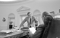 President Gerald R. Ford and Chief of Staff Donald Rumsfeld in the Oval Office.  29 September 1974