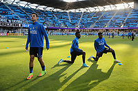 San Jose, CA - Wednesday May 17, 2017: Chris Wondolowski, Fatai Alashe prior to a Major League Soccer (MLS) match between the San Jose Earthquakes and Orlando City SC at Avaya Stadium.