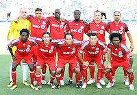 Starting eleven of Toronto FC during an MLS match against the Philadelphia Union at PPL stadium in Chester, Pa. on July 17 2010. Union won 2-1 on a last minute penalty kick goal.
