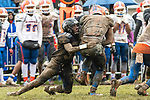 ANSONIA, CT. 02 December 2018-120218 - Ansonia's Troy Sanders #39 tries to take down Bloomfield's Ky'Juon Butler #45 during the Class S Semi-final game between Bloomfield and Ansonia at Ansonia High School in Ansonia on Sunday. Bloomfield held on to beat Ansonia 26-19 and advances to the Class S Championship game next week. Bill Shettle Republican-American