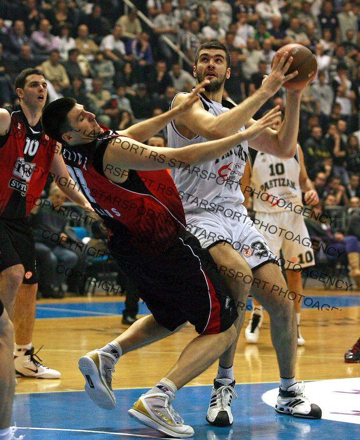 Milko Bjelica Slavko Vranes Euroleague Evroliga Ritas Basketball Kosarka Sport Lietuvos Rytas Partizan Belgrade Beograd Srbija 6.1.2010. credit image: (copyright © Pedja Milosavljevic ® 2010 +381641260959 thepedja@gmail.com)