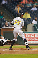 Calvin Mitchell (34) of the West Virginia Power at bat against the Greensboro Grasshoppers at First National Bank Field on June 1, 2018 in Greensboro, North Carolina. The Grasshoppers defeated the Power 10-3. (Brian Westerholt/Four Seam Images)