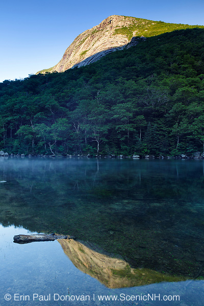 Reflection of Cannon Cliff in Profile Lake in Franconia Notch State Park of the New Hampshire White Mountains during the summer months.
