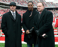 November 22, 2008. NFL Hall of Fame running back Marcus Allen (center) gets ready for an interview prior to the game. The Ohio State Buckeyes defeated the Michigan Wolverines 42-7 on November 22, 2008 at Ohio Stadium, Columbus, Ohio.