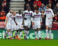 Xherdan Shaqiri of Stoke City second left is congratulated after scoring the first goal during AFC Bournemouth vs Stoke City, Premier League Football at the Vitality Stadium on 3rd February 2018