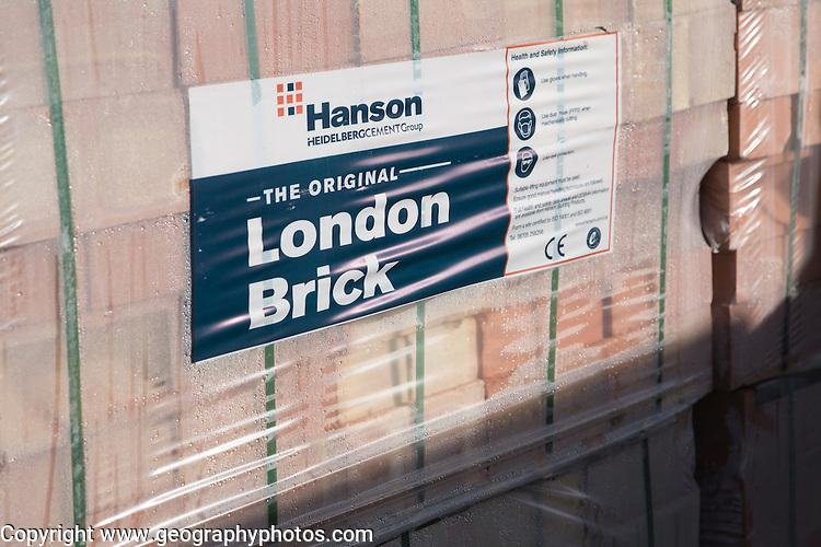 London Brick bricks in builders' yard, UK