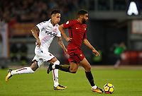 Roma's Gregoire Defrel, right, is chased by Bologna's  Antonio Pulgar during the Serie A football match between Roma and Bologna at Rome's Olympic stadium, October 28, 2017.<br /> UPDATE IMAGES PRESS/Riccardo De Luca