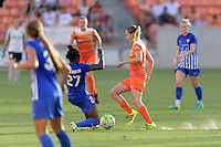 Houston, TX - Sunday Sept. 11, 2016: Eunice Beckmann, Morgan Brian during a regular season National Women's Soccer League (NWSL) match between the Houston Dash and the Boston Breakers at BBVA Compass Stadium.
