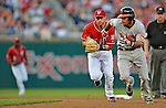 19 May 2012: Washington Nationals infielder Stephen Lombardozzi gets Robert Andino caught in a rundown during game action against the Baltimore Orioles at Nationals Park in Washington, DC. The Orioles defeated the Nationals 6-5 in the second game of their 3-game series. Mandatory Credit: Ed Wolfstein Photo