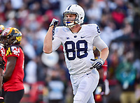 College Park, MD - NOV 11, 2017: Penn State Nittany Lions tight end Mike Gesicki (88) celebrates a touchdown during game between Maryland and Penn State at Capital One Field at Maryland Stadium in College Park, MD. (Photo by Phil Peters/Media Images International)