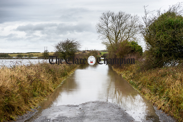 A flooded and impassable road outside Kinvarra in South Galway. Photograph by John Kelly.